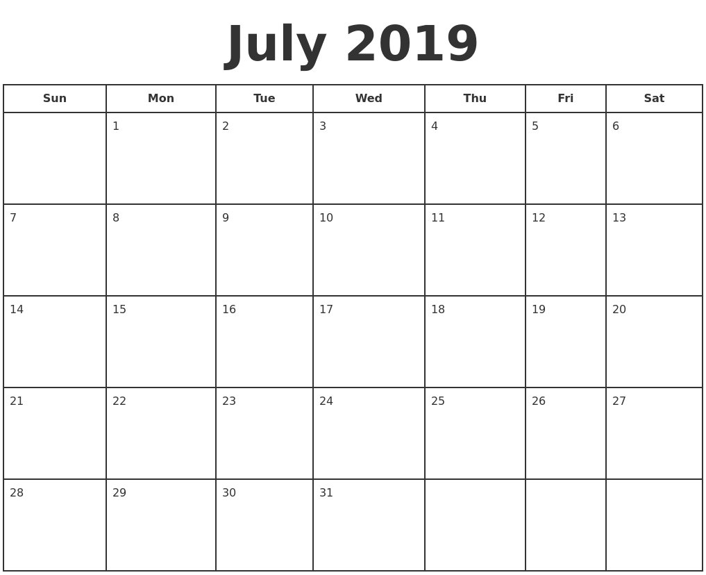 photo regarding Printable July Calendar titled July 2019 Print A Calendar