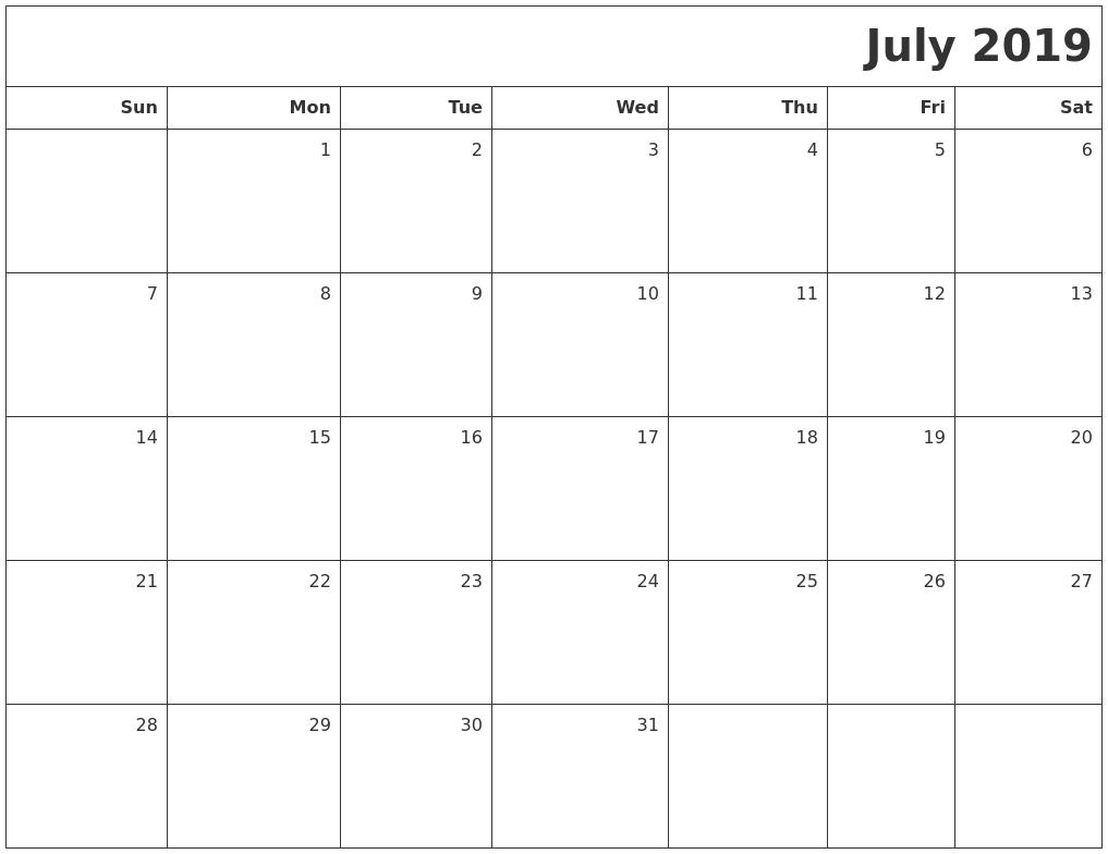 September 2019 Word Calendar