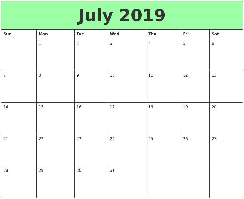 graphic regarding Printable Calendars for known as July 2019 Printable Calendars