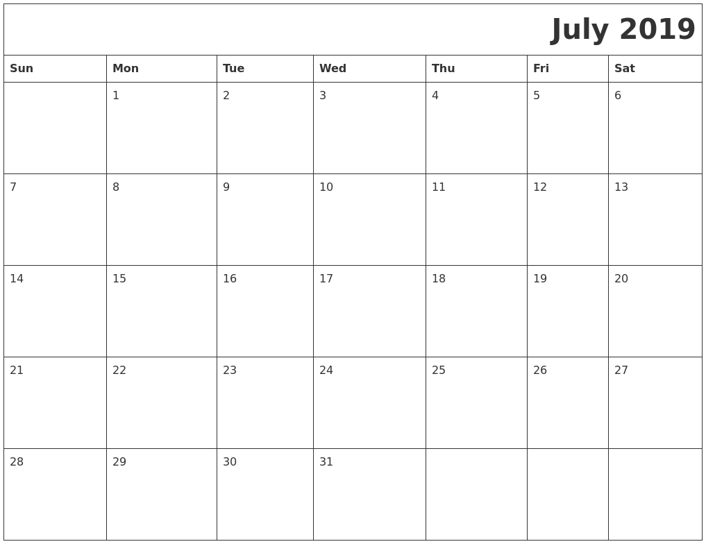 image relating to Printable July Calendar identify July 2019 Printable Calender