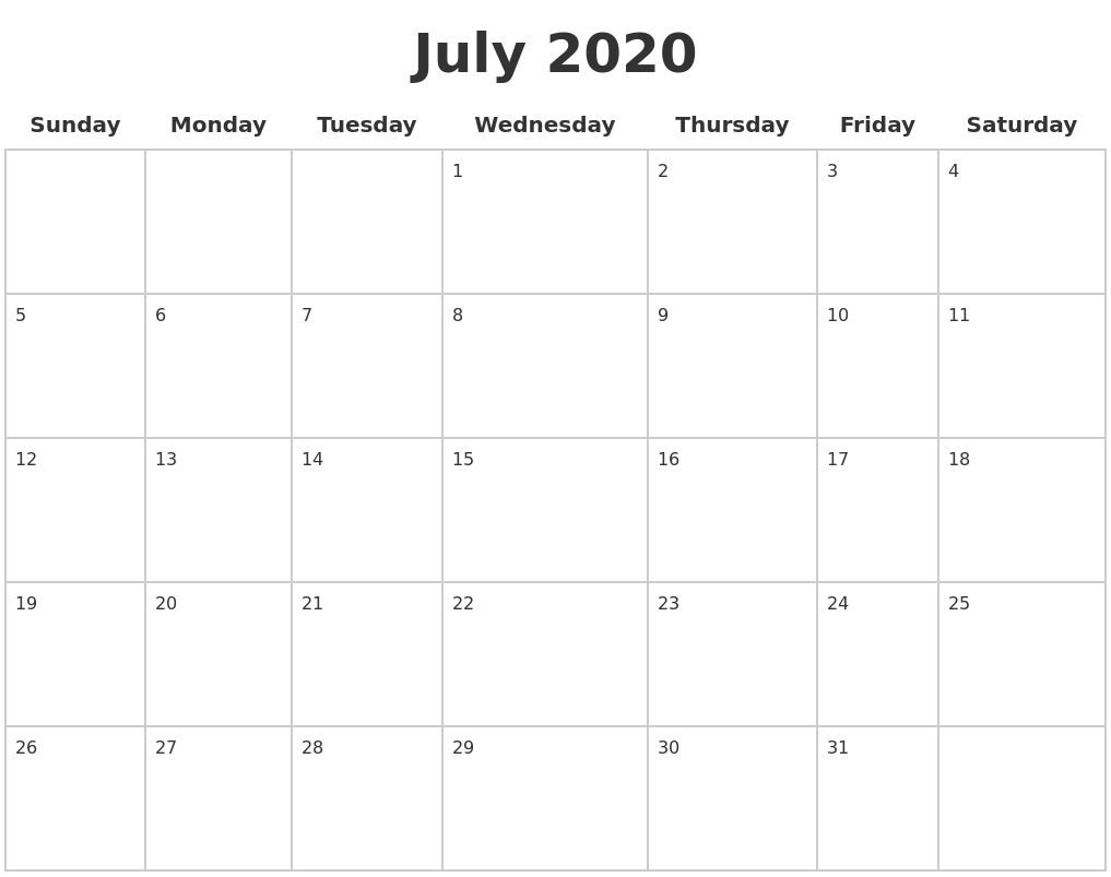 July 2020 Blank Calendar Pages