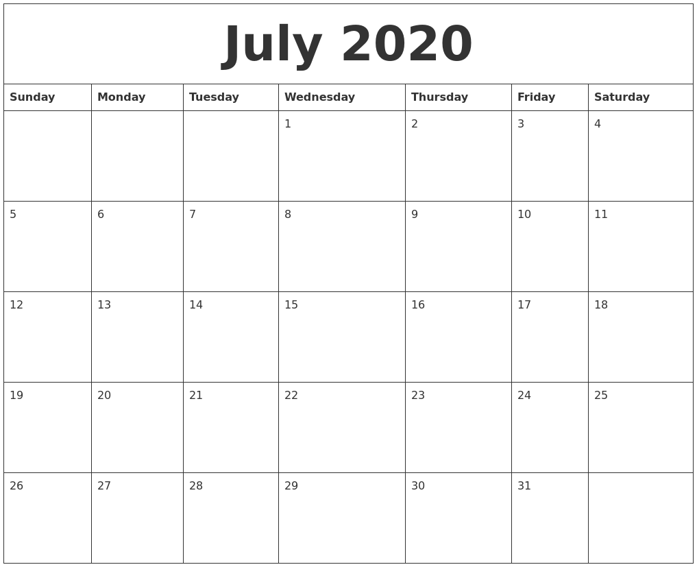 July 2020 Blank Monthly Calendar Template PDF's
