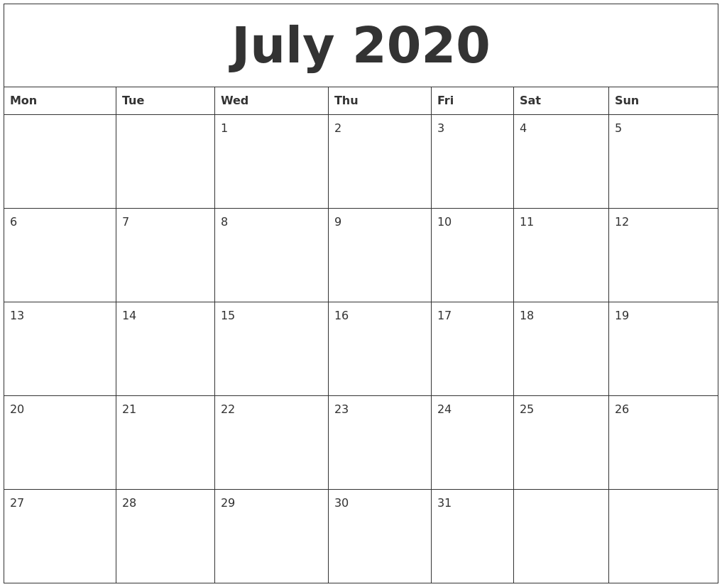 July 2020 Blank Monthly Calendar Template