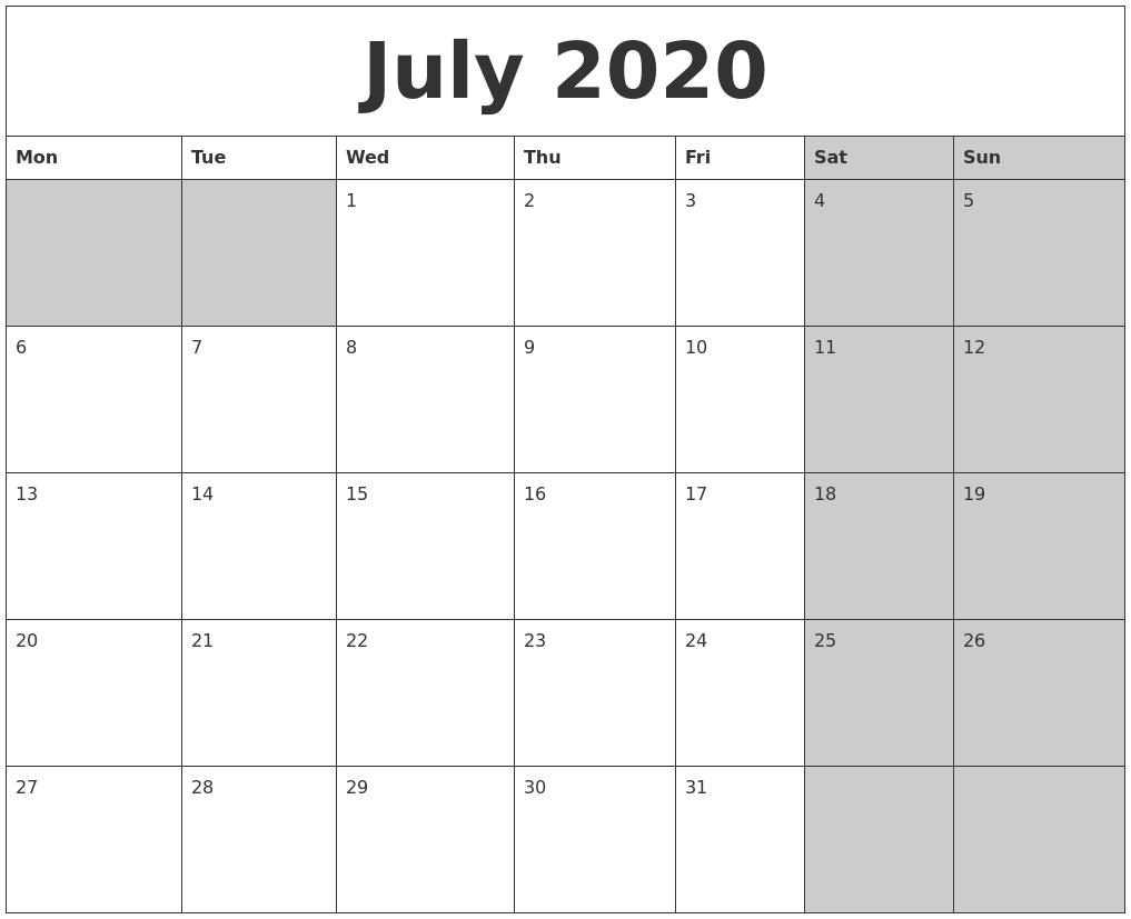 july 2020 calanders