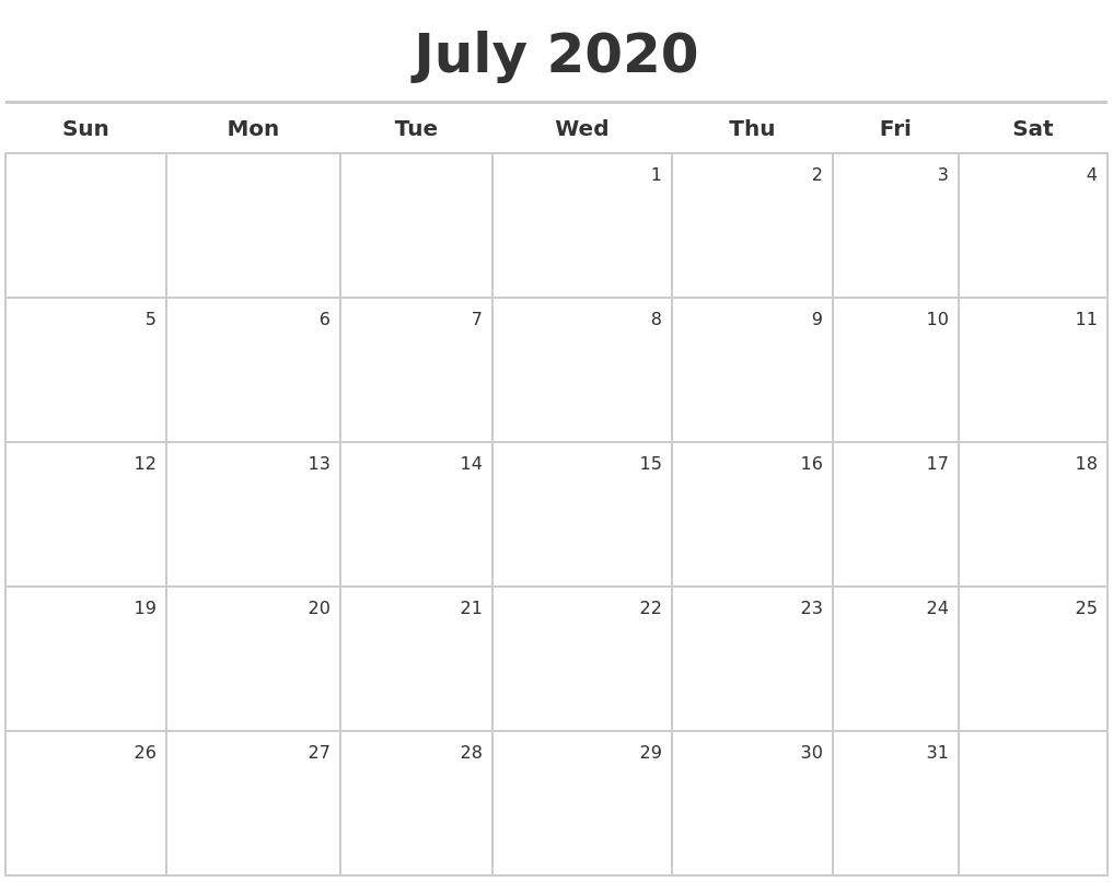 May 2020 Calendars Free