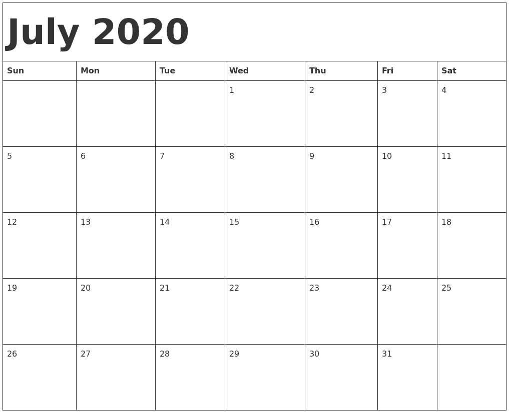 July Calendar 2020.July 2020 Calendar Template