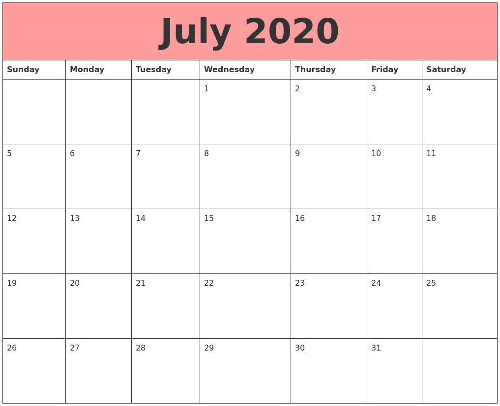 July 2020 Calendars That Work