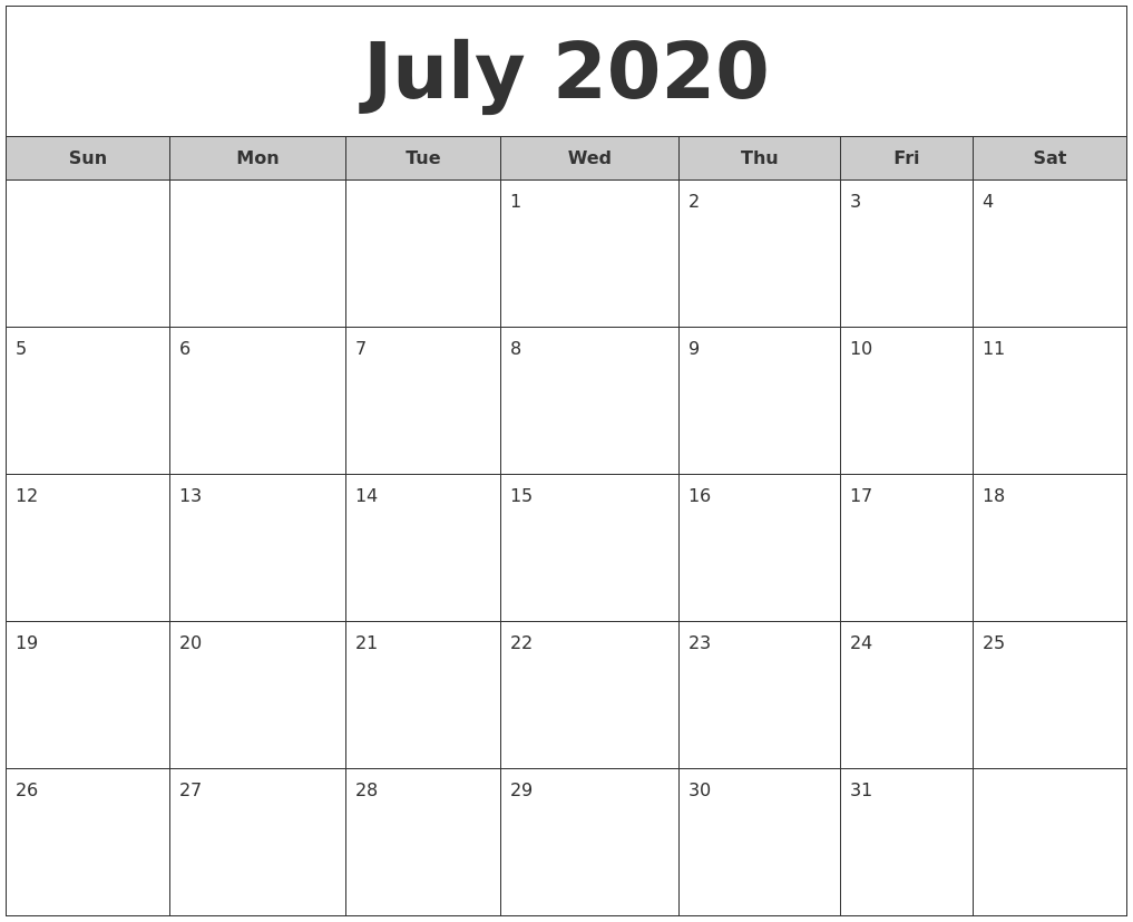 July 2020 Free Monthly Calendar