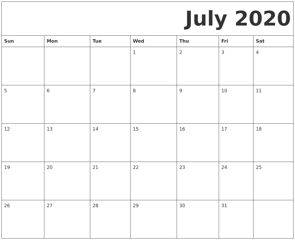 photograph about Free Printable July Calendar named July 2020 No cost Printable Calendar