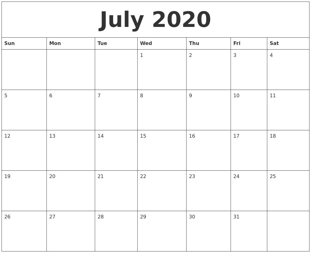 July 2020 Calendar Printable.July 2020 Free Printable Monthly Calendar