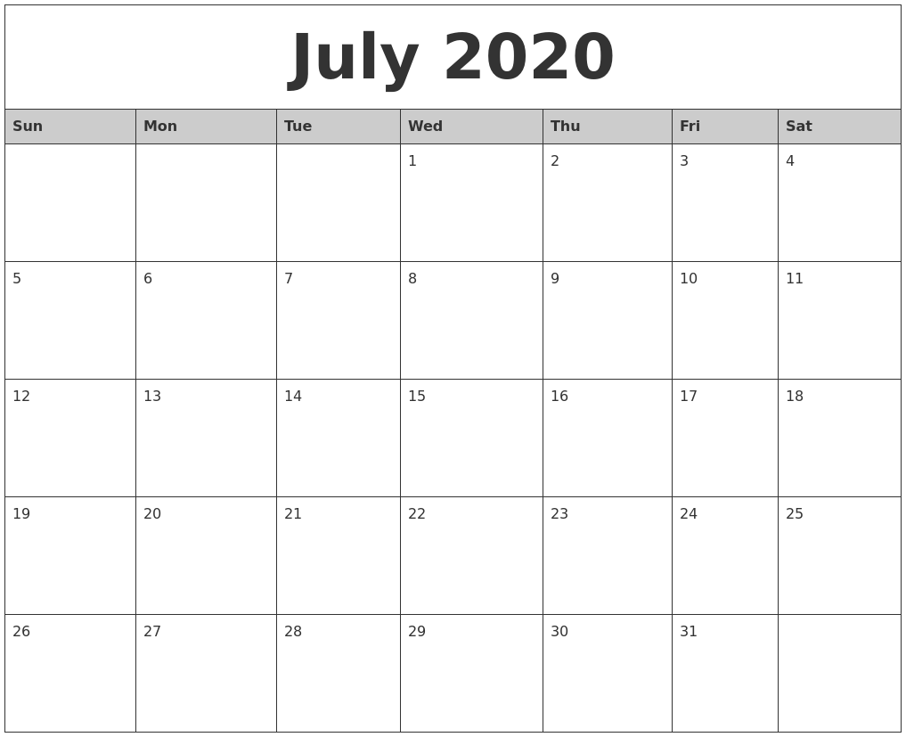 July 2020 Monthly Calendar Printable