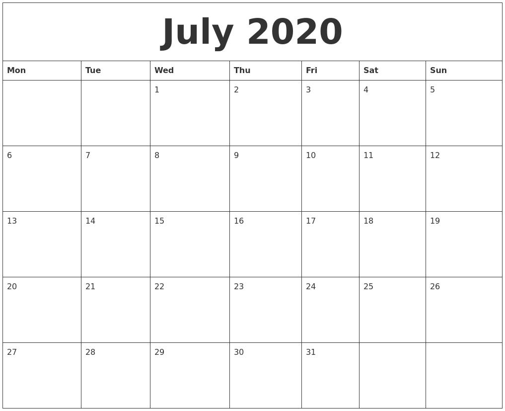 July 2020 Printable Calenders