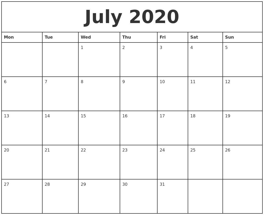It is an image of Crafty Free Printable Monthly 2020 Calendars