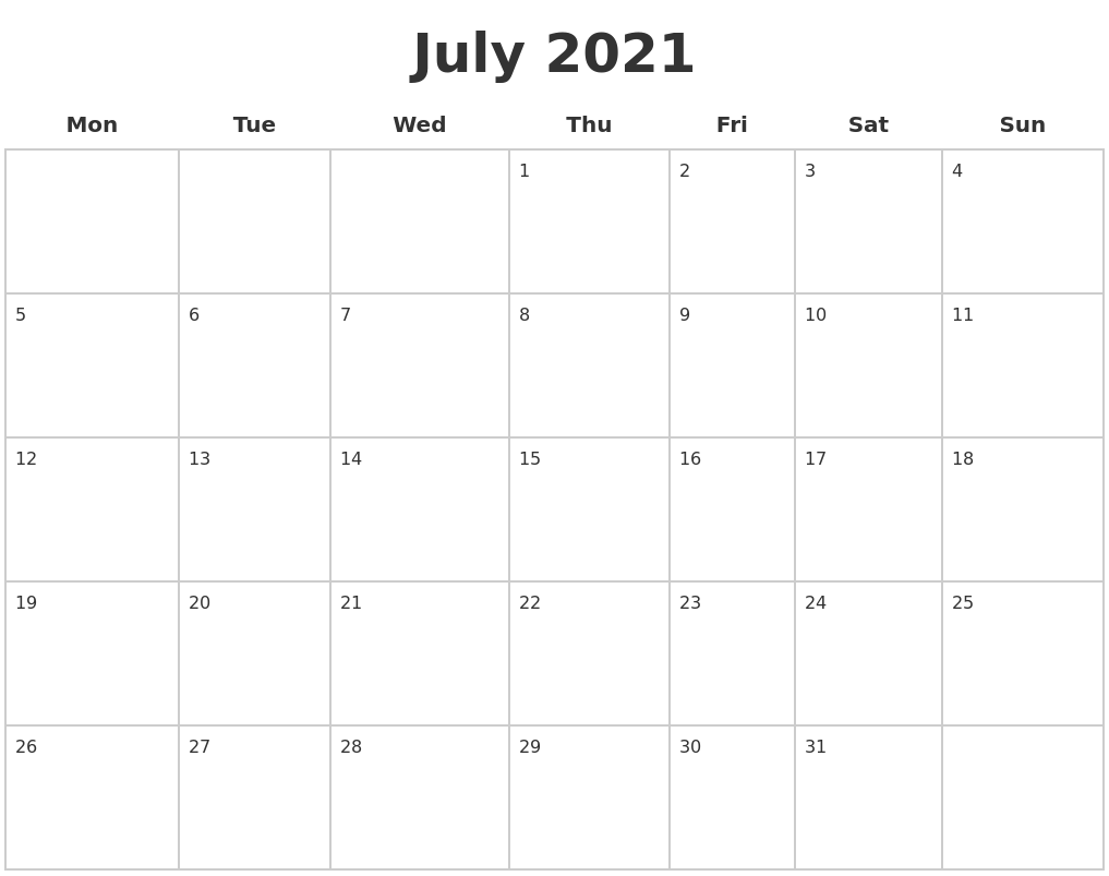 July 2021 Blank Calendar Pages PDF's