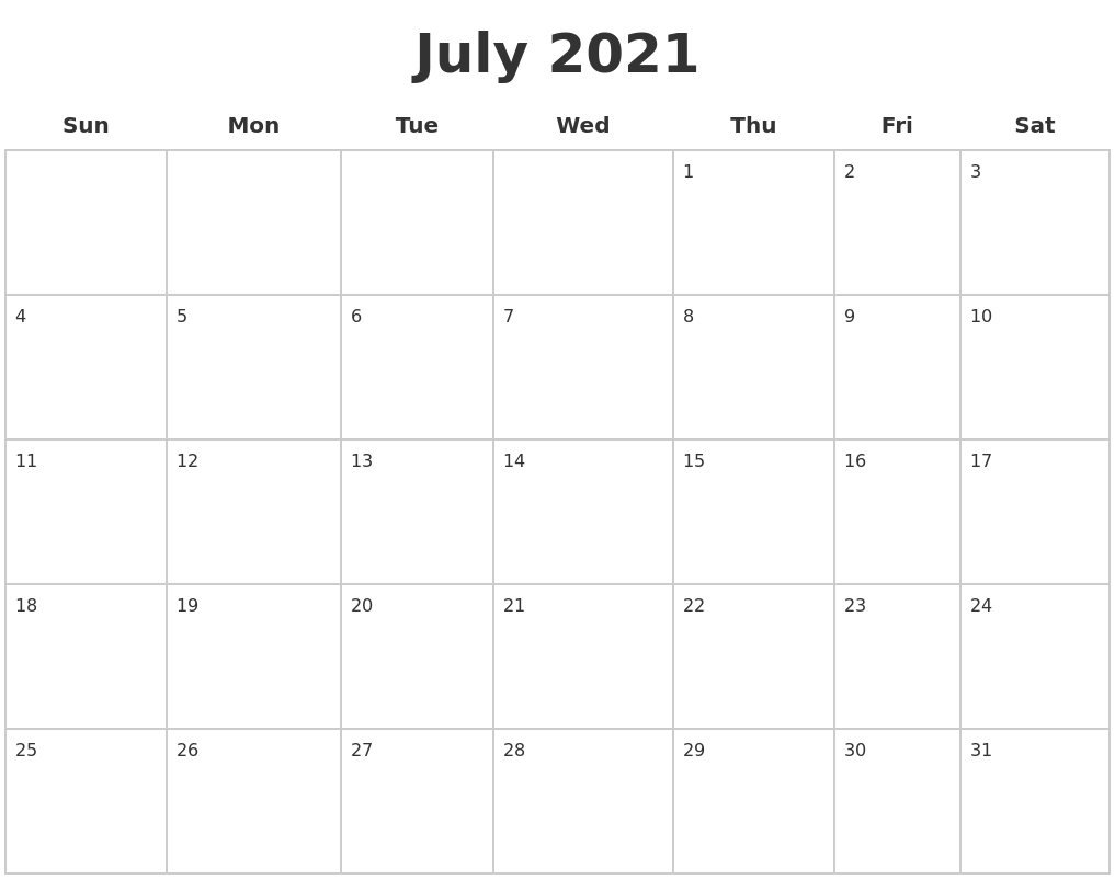 July 2021 Blank Calendar Pages