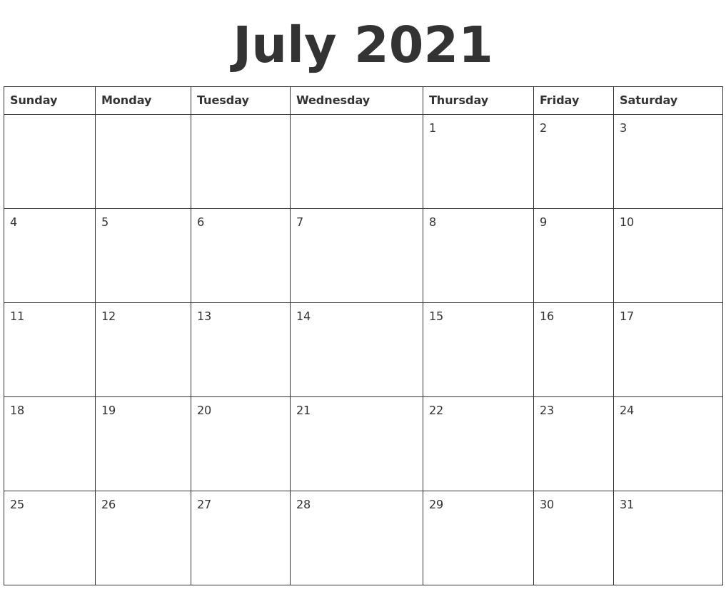 July 2021 Blank Calendar Template PDF's