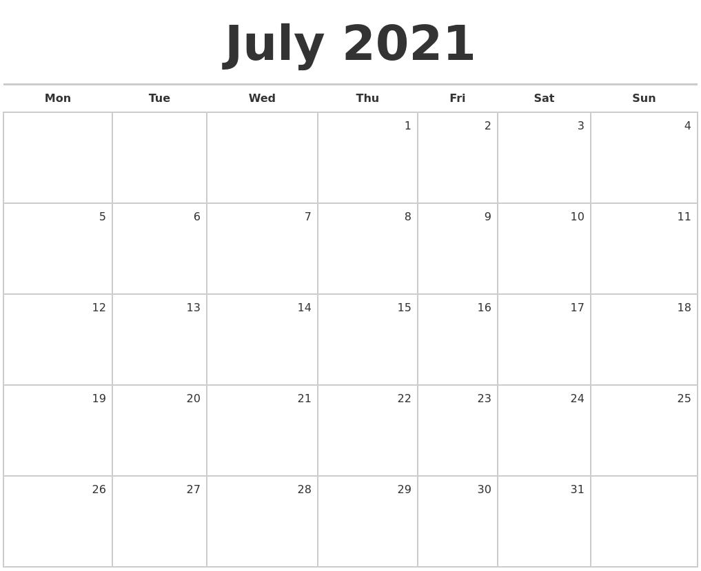July 2021 Blank Monthly Calendar PDF's