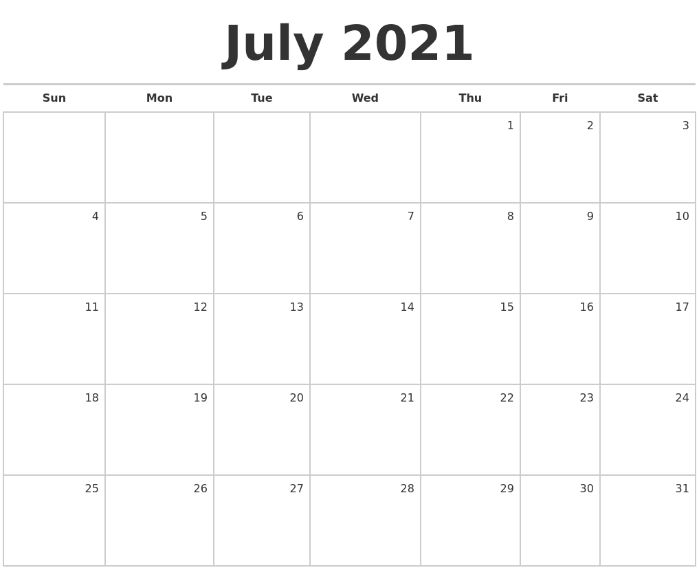 July 2021 Blank Monthly Calendar
