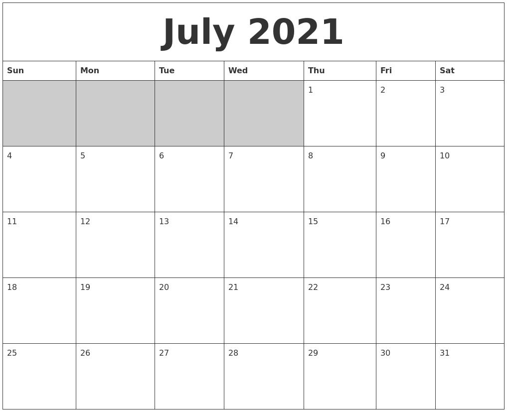 Blank Calendar Of : July blank printable calendar