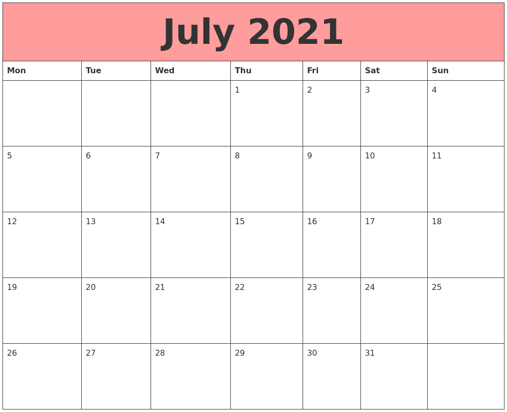 July 2021 Calendars That Work