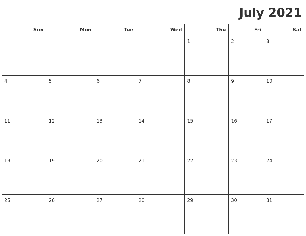 July 2021 Calendars To Print