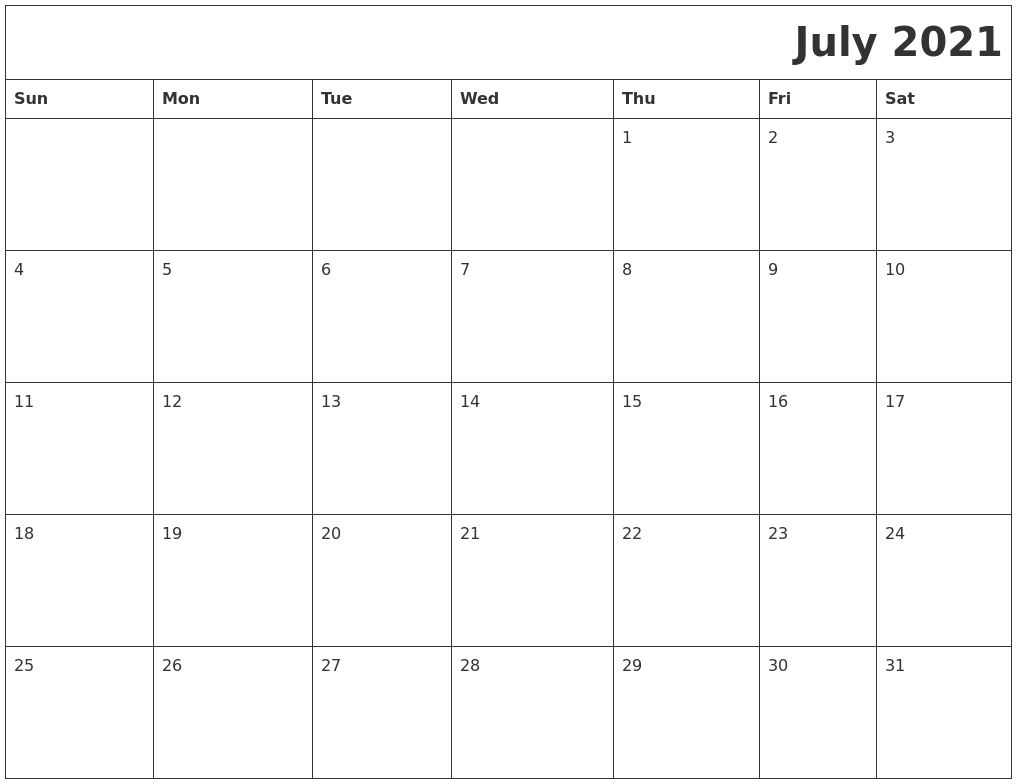 July 2021 Download Calendar