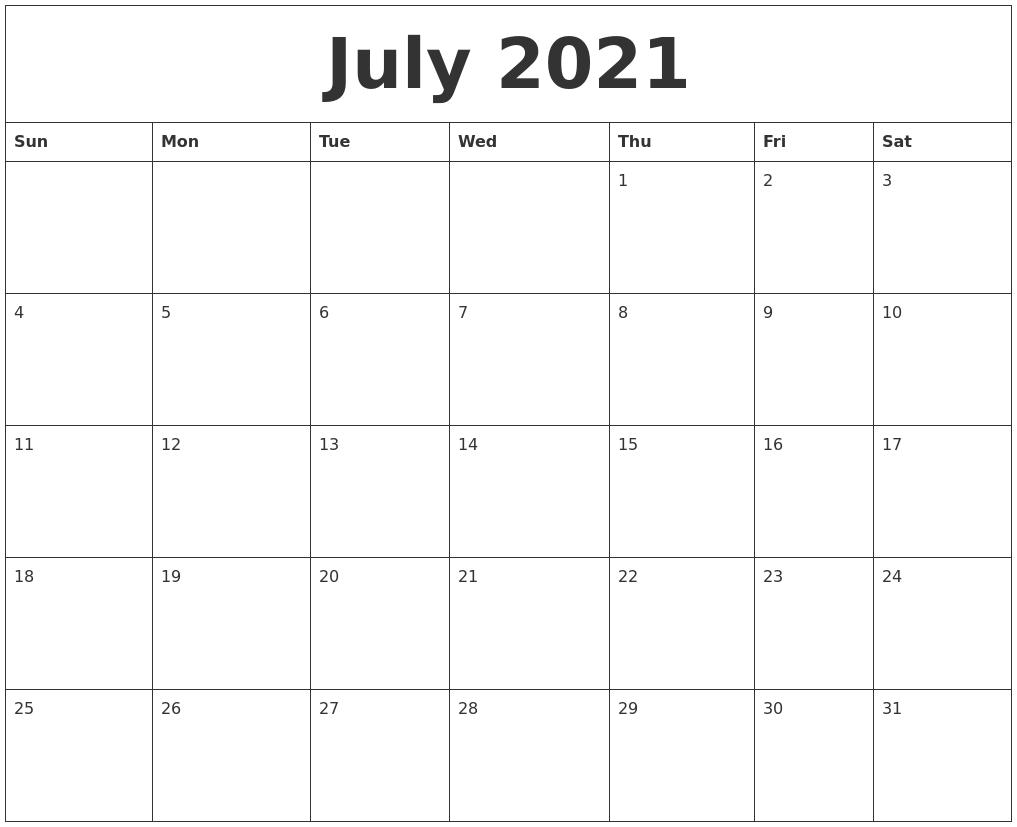 july calandar