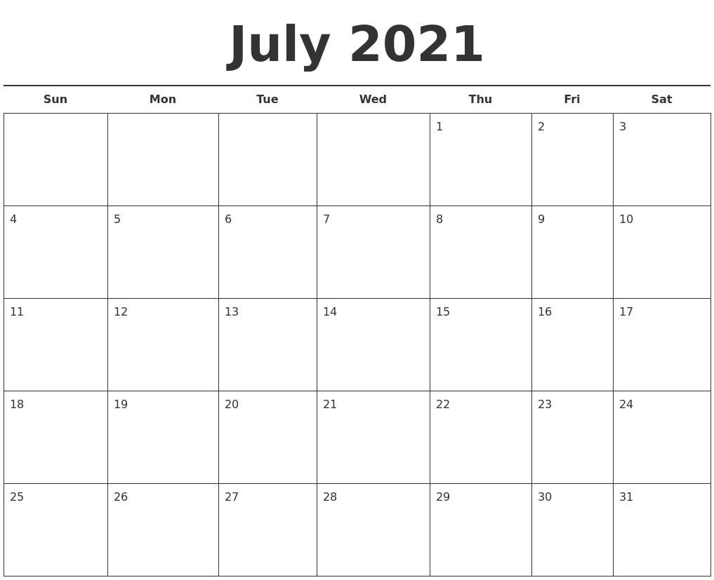 August 2021 Blank Monthly Calendar