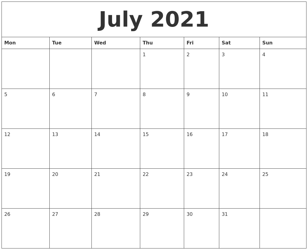 July 2021 Monthly Calendar July 2021 Free Printable Monthly Calendar