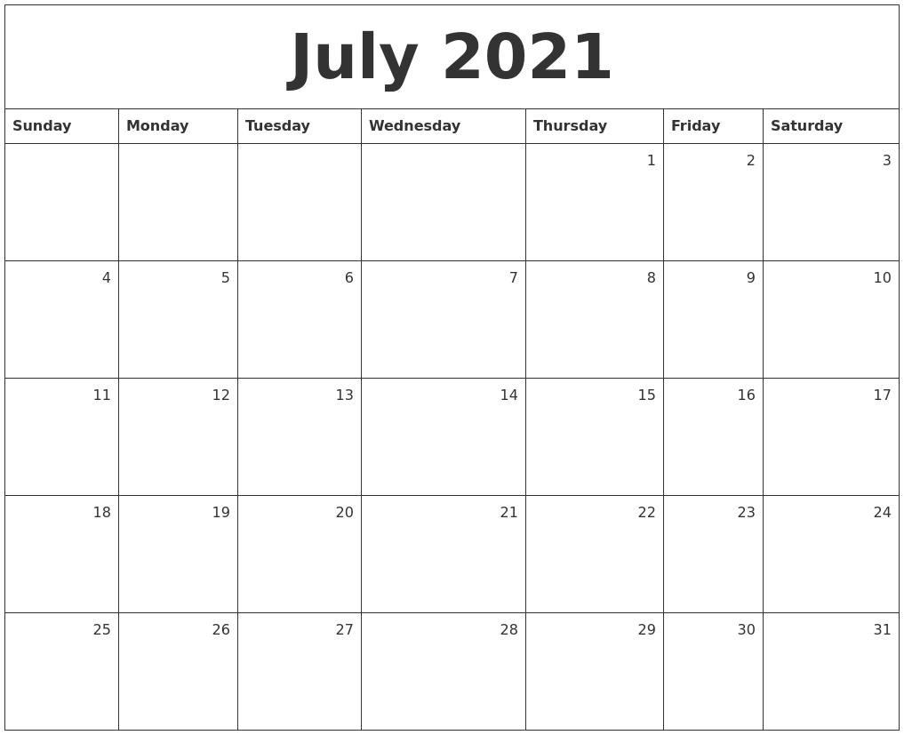 July Monthly Calendar 2021 July 2021 Monthly Calendar
