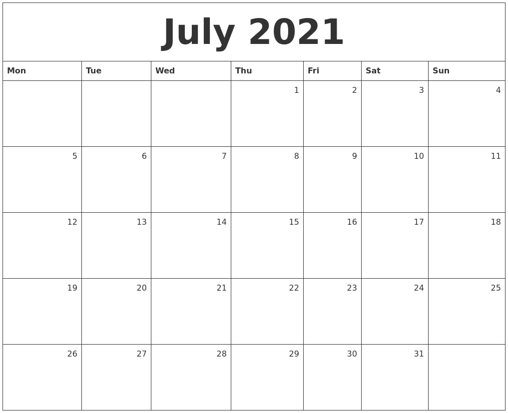 July 2021 Monthly Calendar July 2021 Monthly Calendar