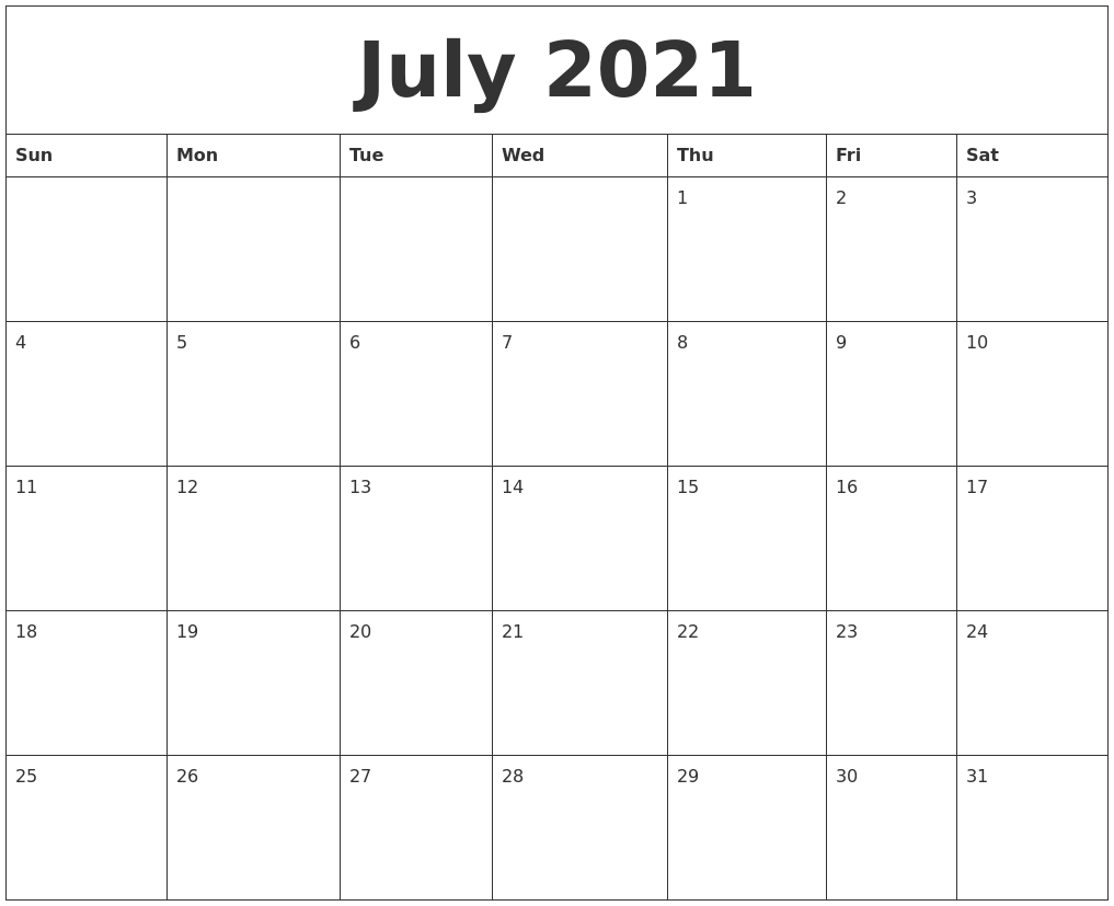 Blank Calendar 2021 July July 2021 Printable Calendar Pages