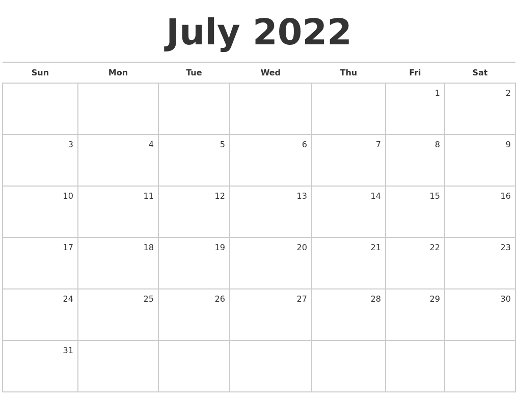 July 2022 Blank Monthly Calendar