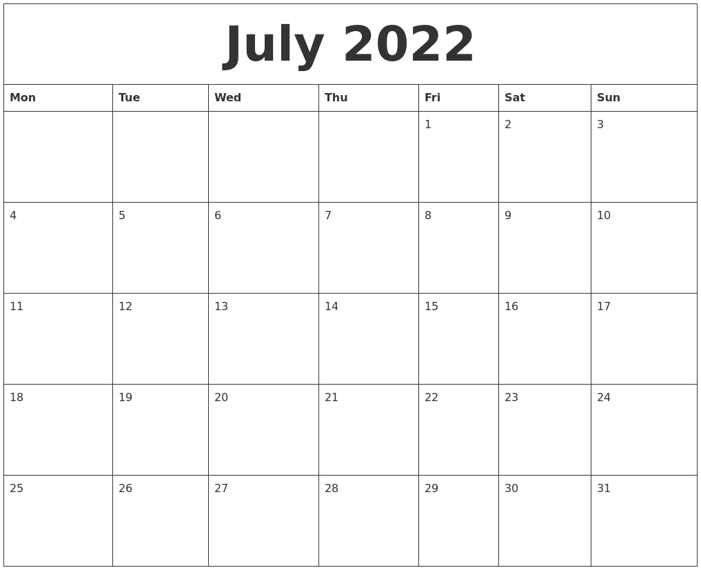 July 2022 Calendar Pages