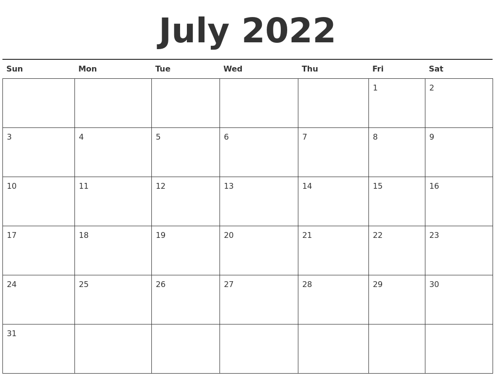 Calendar June To December : July calendar printable
