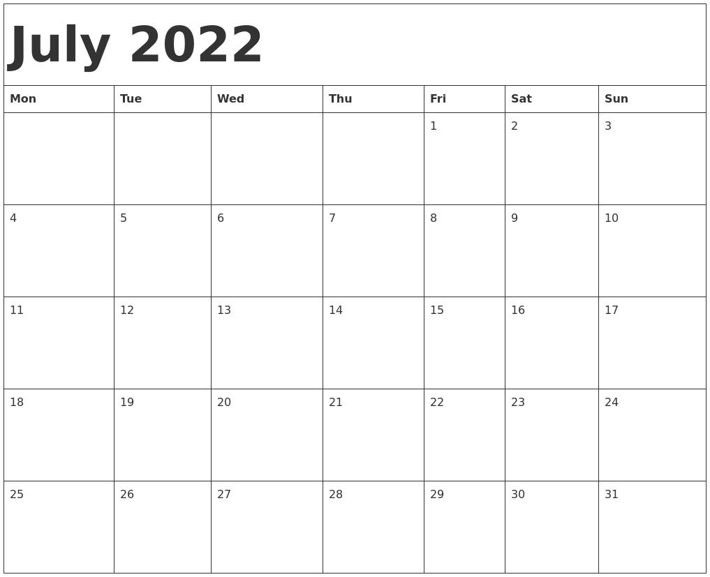 June July 2022 Calendar.July 2022 Calendar Template