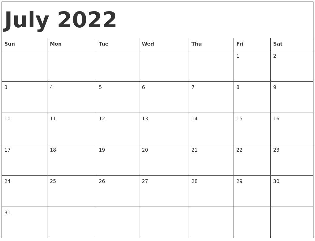 July 2022 Calendar Template.July 2022 Calendar Template