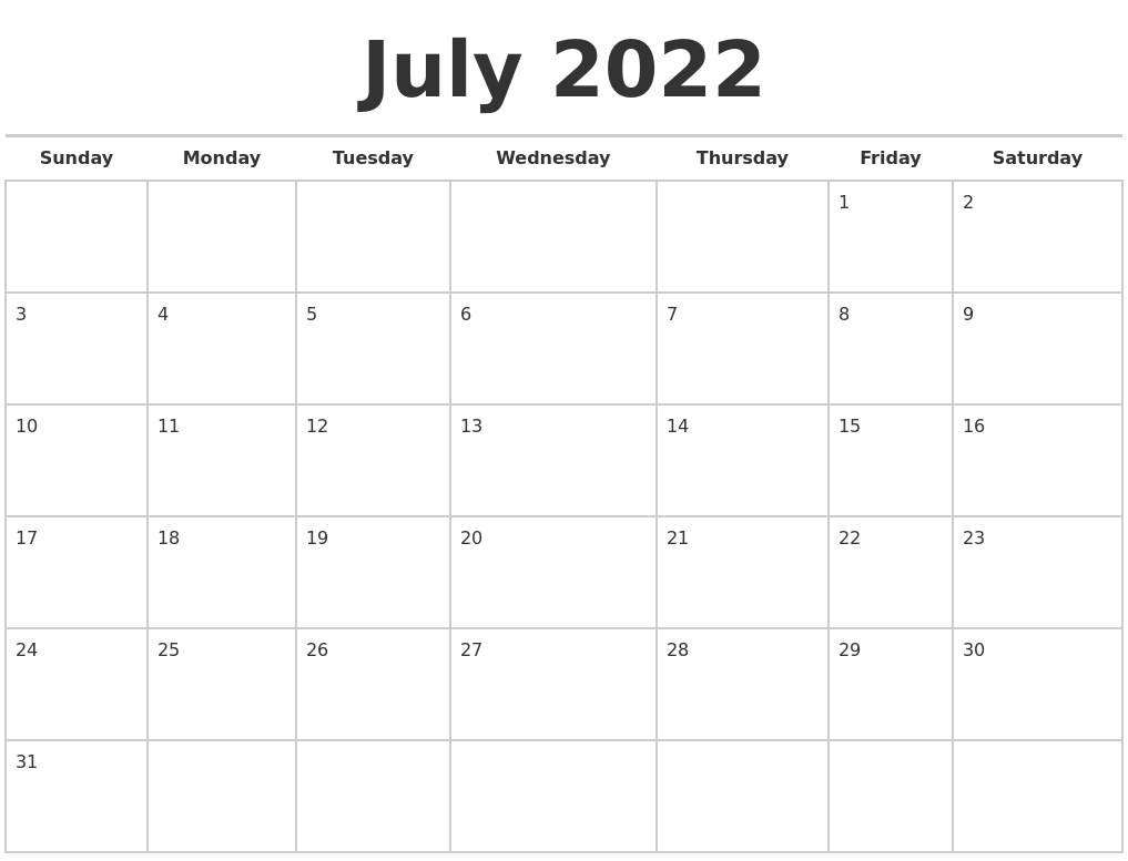 July 2022 Calendars Free