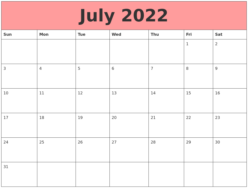 July 2022 Calendars That Work