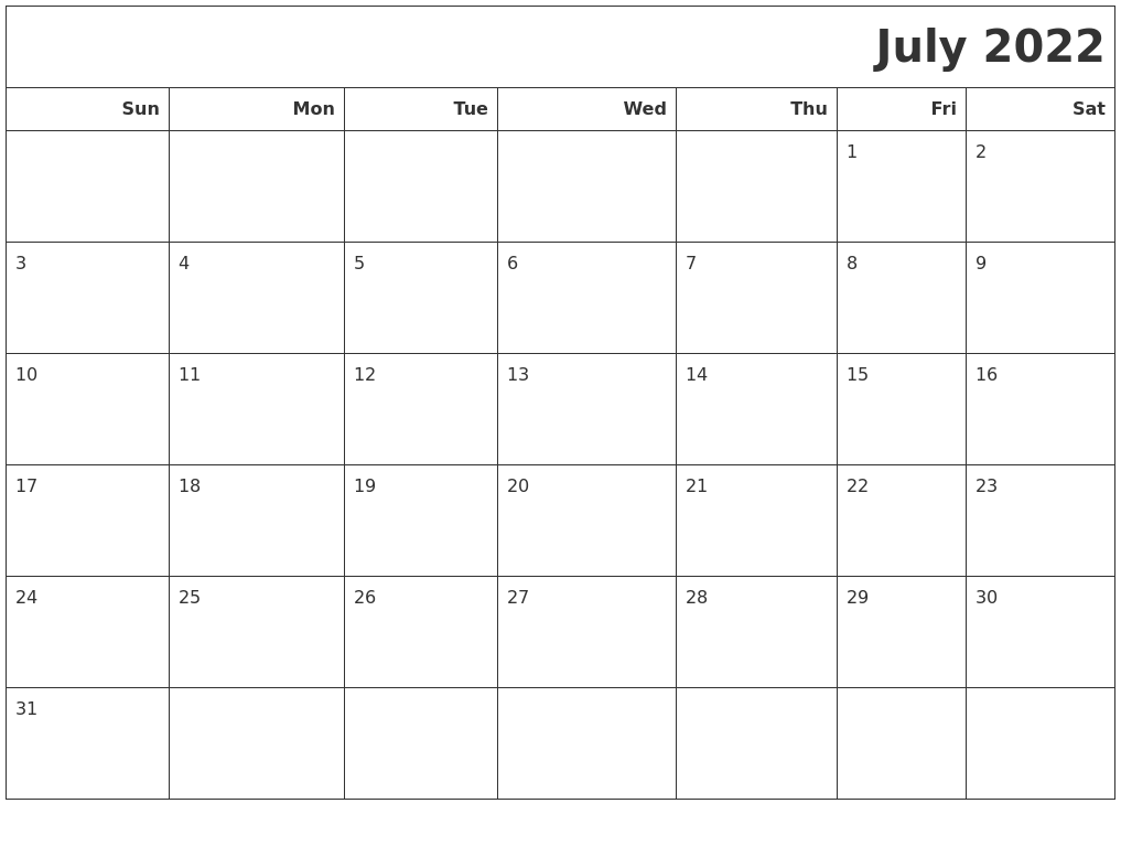 July 2022 Calendars To Print