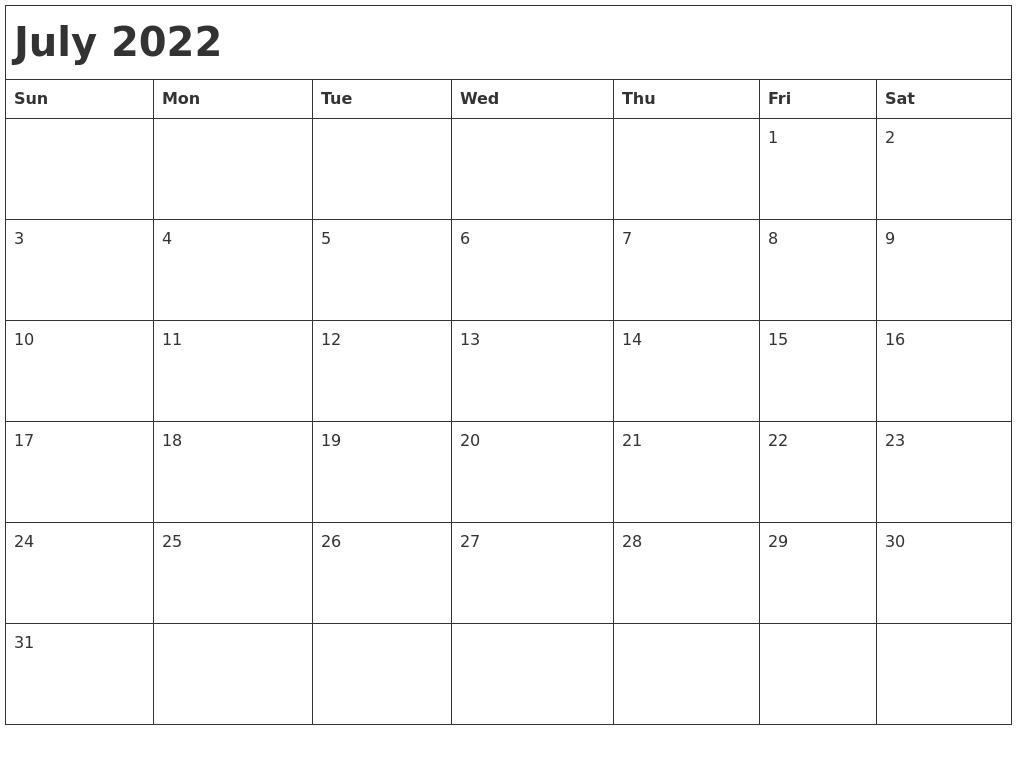 July 2022 Month Calendar