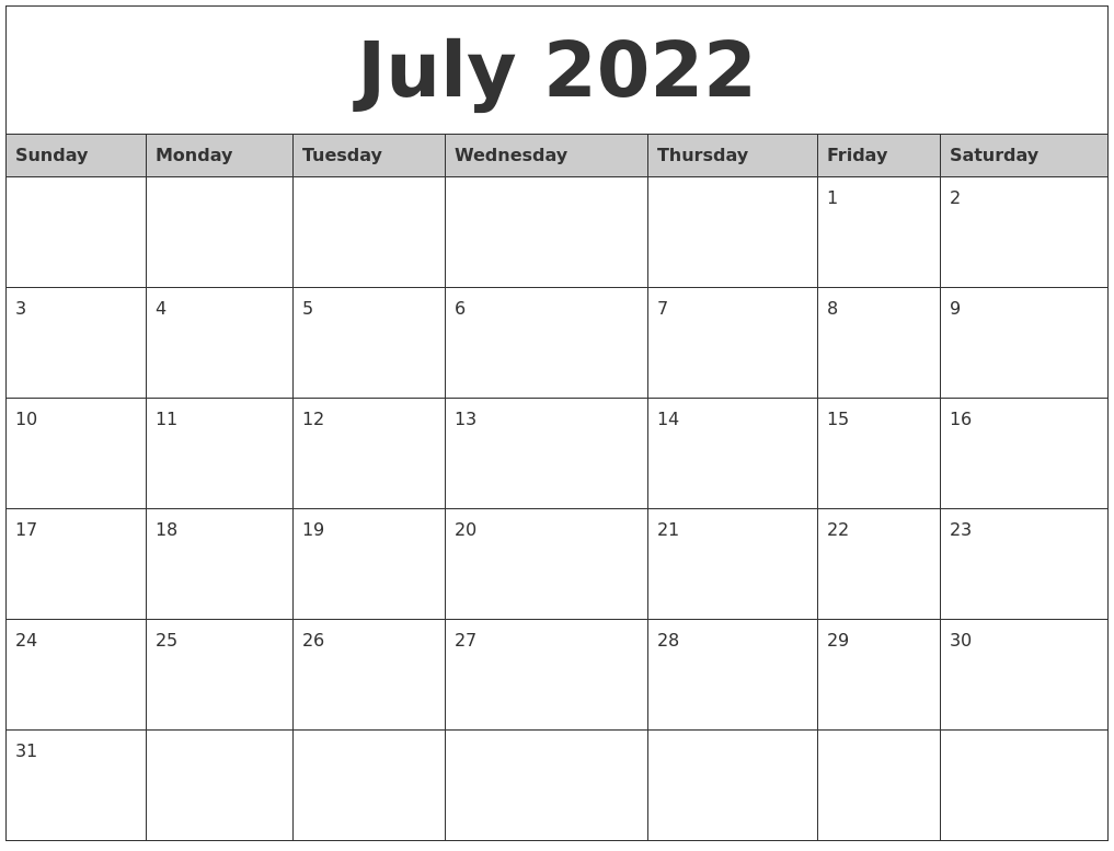 July 2022 Monthly Calendar Printable
