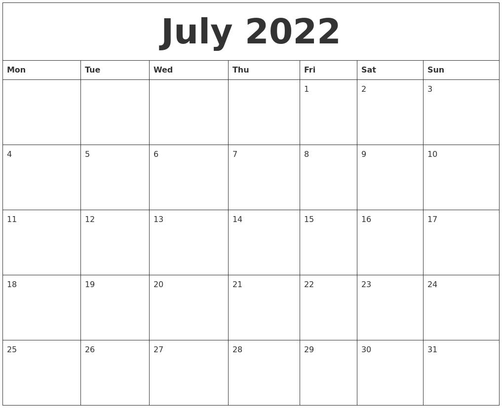 July 2022 Calendar Printable Free.July 2022 Monthly Printable Calendar