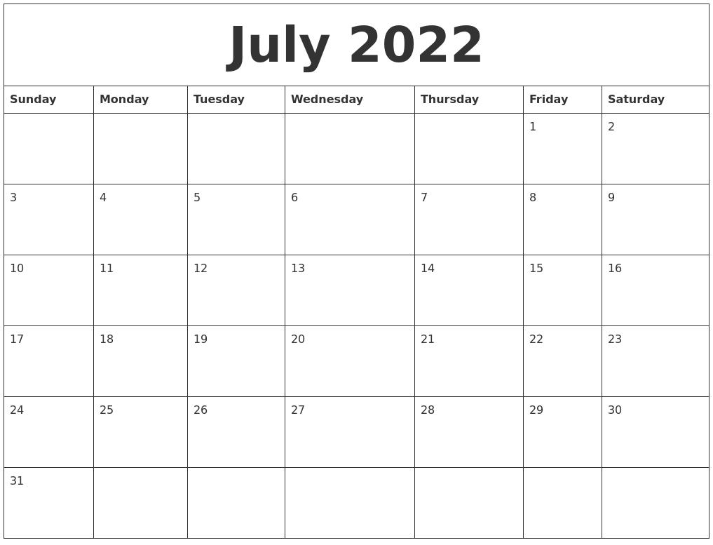 Blank July 2022 Calendar.July 2022 Printable Calendar Pdf