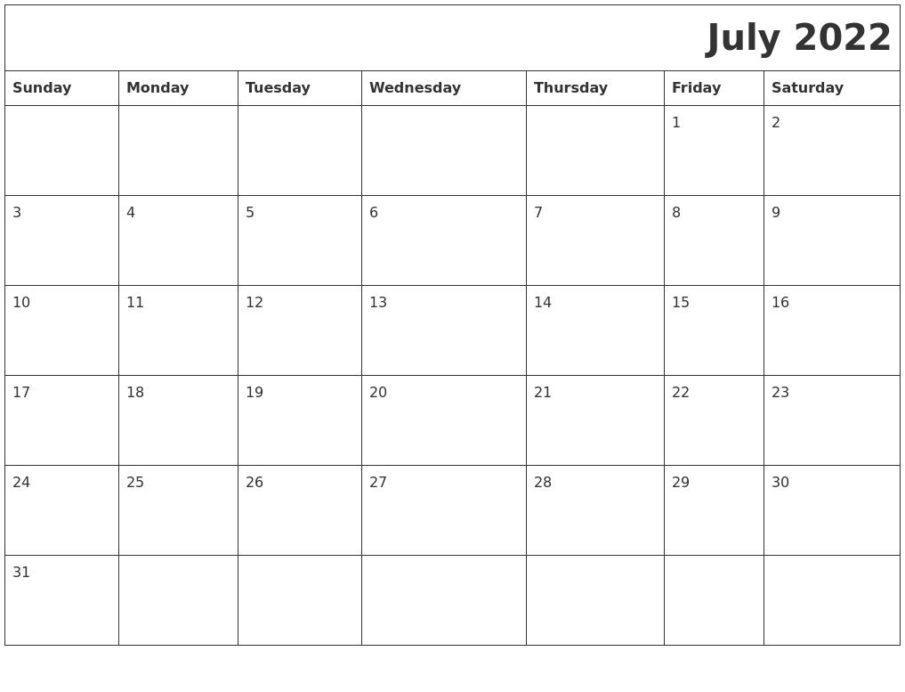 July 2022 Printable Calender