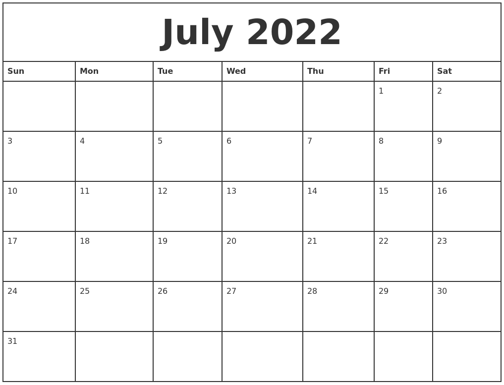 July 2022 Printable Monthly Calendar