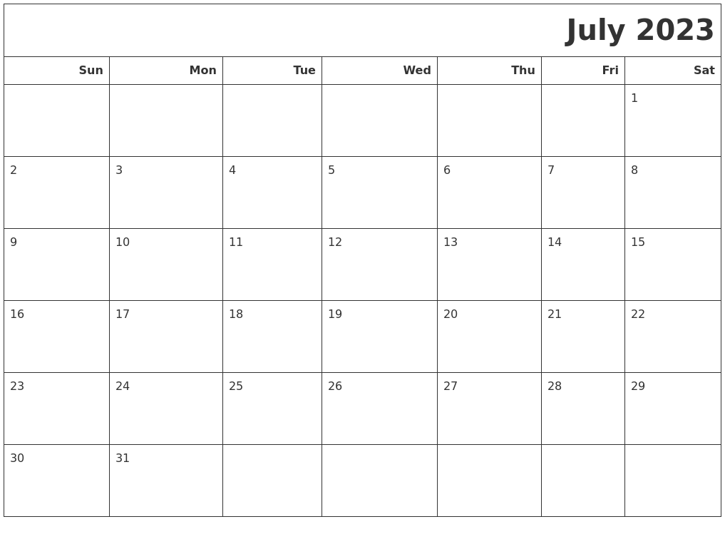 July 2023 Calendars To Print