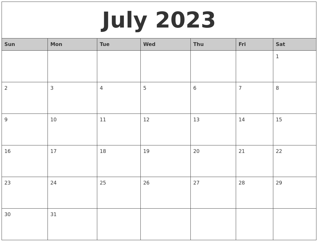 July 2023 Monthly Calendar Printable