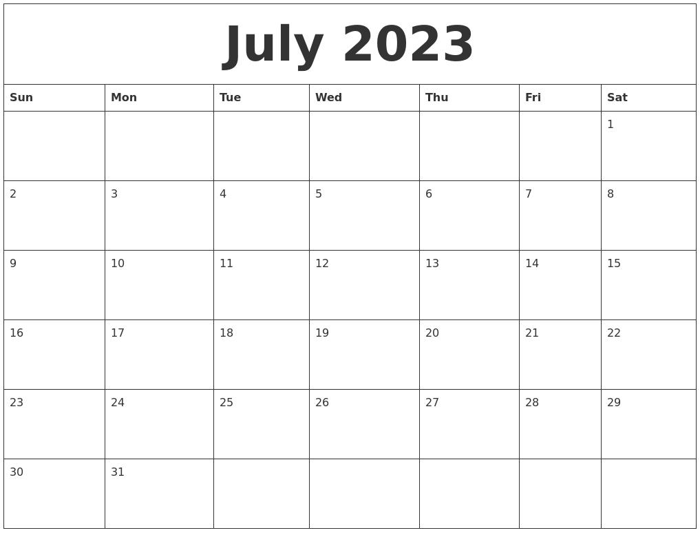 July 2023 Word Calendar