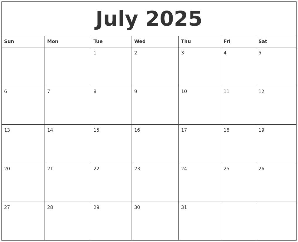 July 2025 Blank Calendar To Print